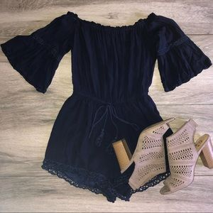 Blue Off The Shoulder Beautiful Romper EUC